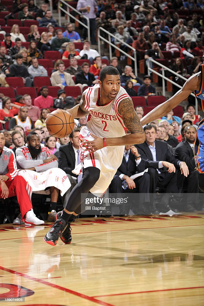 Marcus Morris #2 of the Houston Rockets drives baseline against the Oklahoma City Thunder on December 29, 2012 at the Toyota Center in Houston, Texas.
