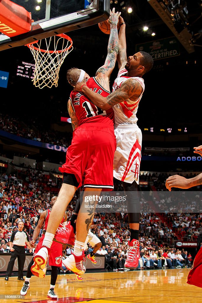 Marcus Morris #2 of the Houston Rockets drives to the basket against Chris Andersen #11 of the Miami Heat on February 6, 2013 at American Airlines Arena in Miami, Florida.