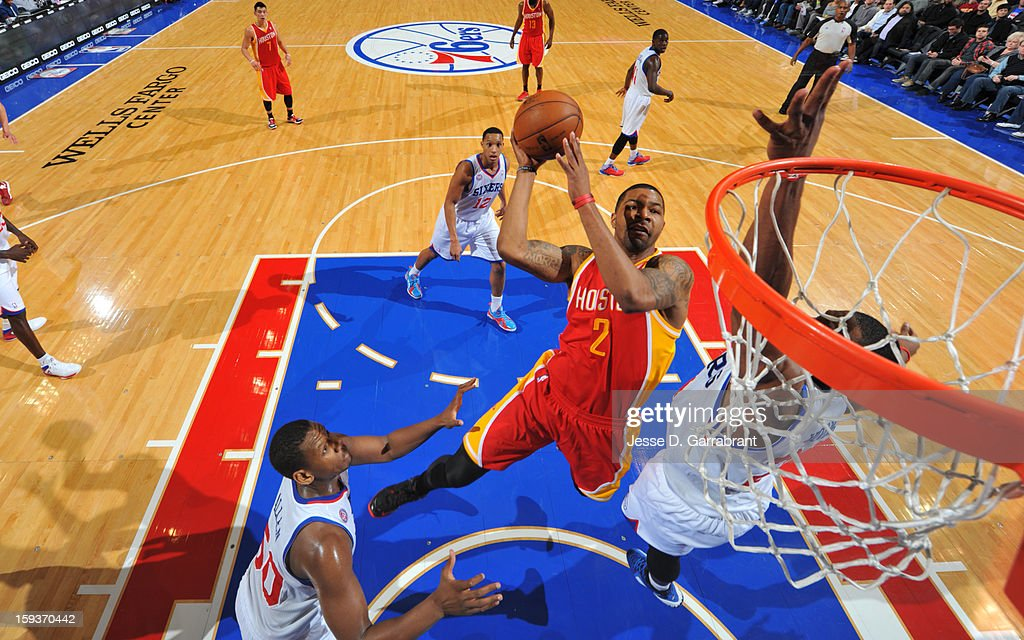 Marcus Morris #2 of the Houston Rockets drives to the basket against the Philadelphia 76ers during the game at the Wells Fargo Center on January 12, 2013 in Philadelphia, Pennsylvania.