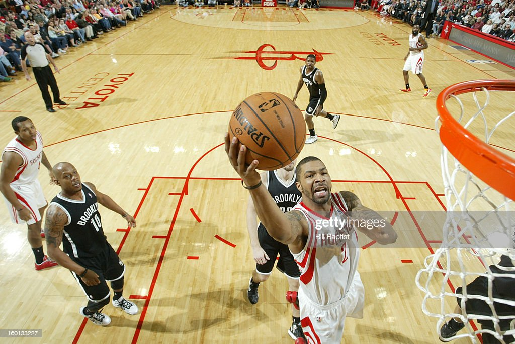Marcus Morris #2 of the Houston Rockets goes to the basket against the Brooklyn Nets on January 26, 2013 at the Toyota Center in Houston, Texas.