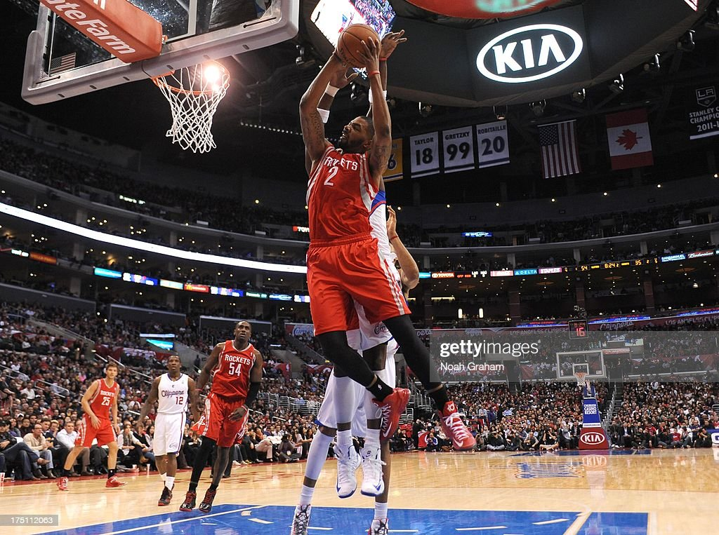 Marcus Morris #2 of the Houston Rockets goes to the basket during the game between the Los Angeles Clippers and the Houston Rockets at Staples Center on February 13, 2013 in Los Angeles, California.