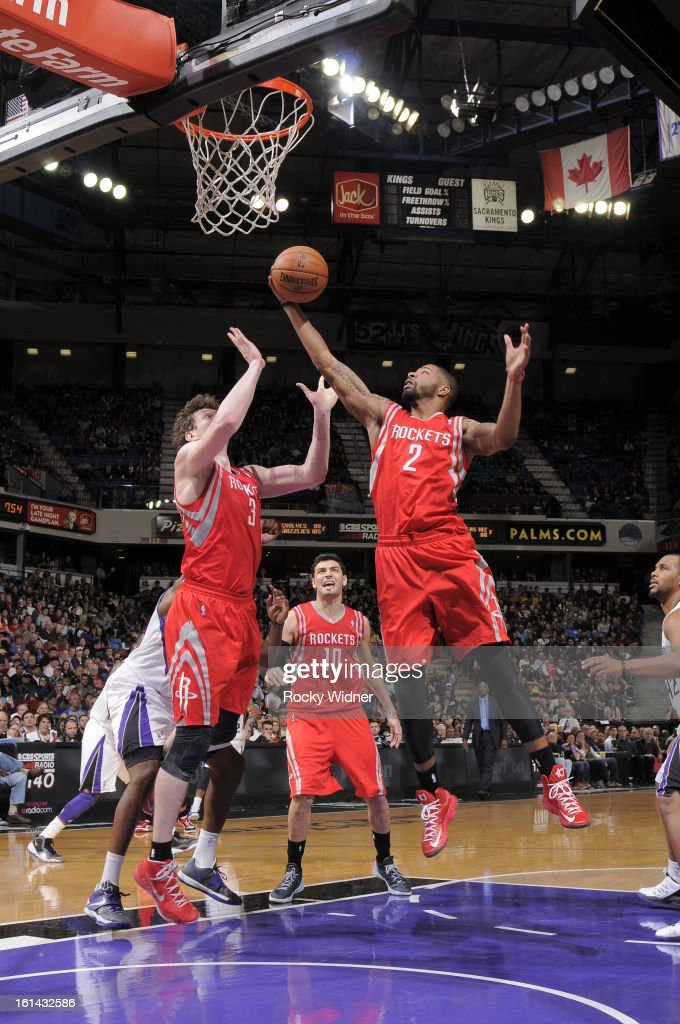Marcus Morris #2 of the Houston Rockets rebounds the ball against the Sacramento Kings on February 10, 2013 at Sleep Train Arena in Sacramento, California.