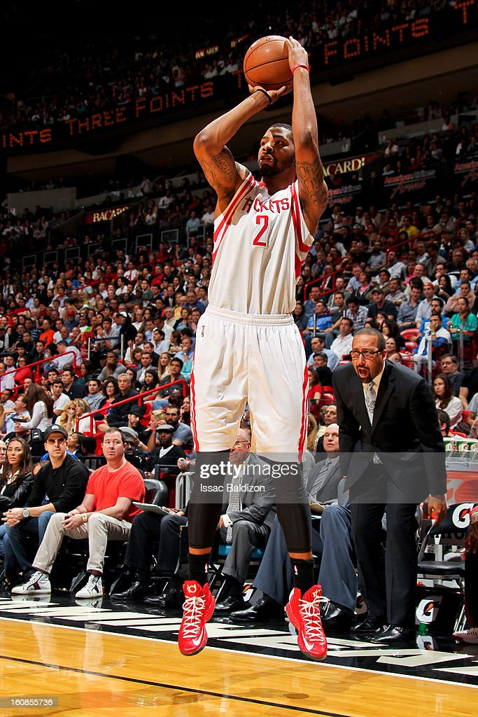 Marcus Morris #2 of the Houston Rockets shoots a three-pointer against the Miami Heat on February 6, 2013 at American Airlines Arena in Miami, Florida.