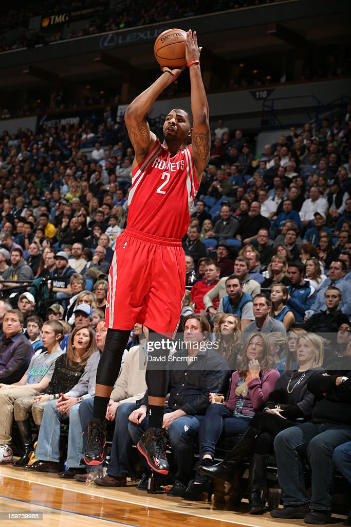 Marcus Morris #2 of the Houston Rockets takes a three point shot against the Minnesota Timberwolves during the game on January 19, 2013 at Target Center in Minneapolis, Minnesota.