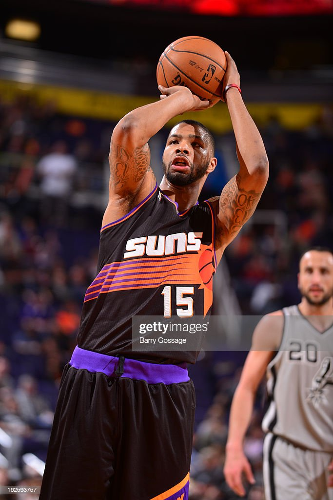 Marcus Morris #15 of the Phoenix Suns at the free throw line against the San Antonio Spurs on February 24, 2013 at U.S. Airways Center in Phoenix, Arizona.