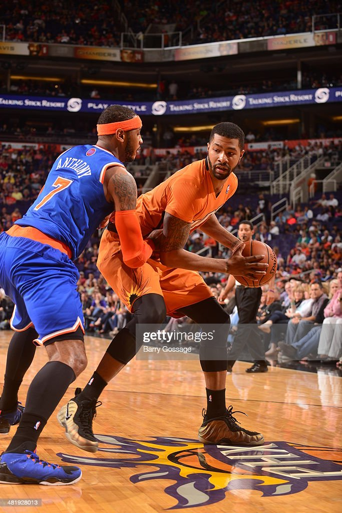 Marcus Morris #15 of the Phoenix Suns controls the ball against the New York Knicks on March 28, 2014 at U.S. Airways Center in Phoenix, Arizona.