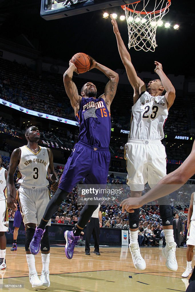Marcus Morris #15 of the Phoenix Suns drives to the basket against the New Orleans Pelicans on November 5, 2013 at the New Orleans Arena in New Orleans, Louisiana.