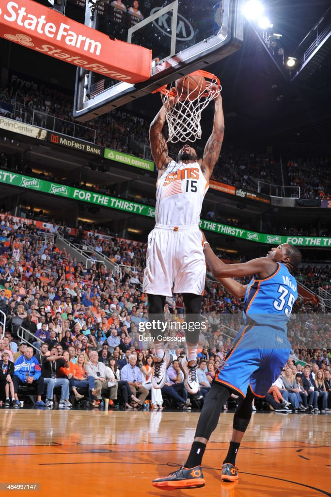 Marcus Morris #15 of the Phoenix Suns dunks against the Oklahoma City Thunder on April 6, 2014 at U.S. Airways Center in Phoenix, Arizona.