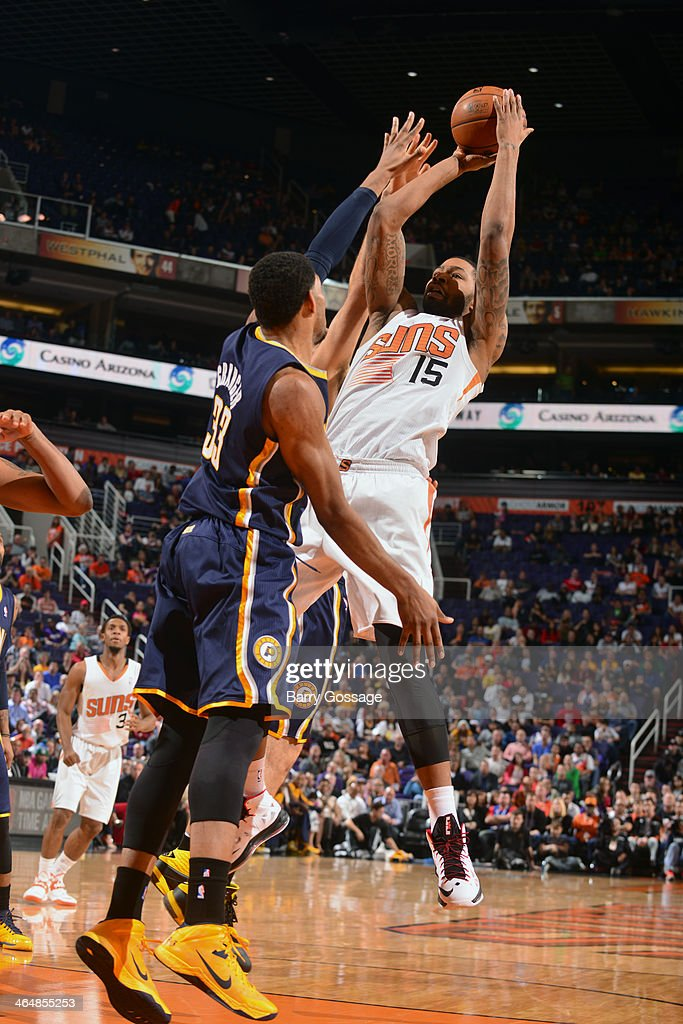 Marcus Morris #15 of the Phoenix Suns shoots against the Indiana Pacers on January 22, 2014 at U.S. Airways Center in Phoenix, Arizona.