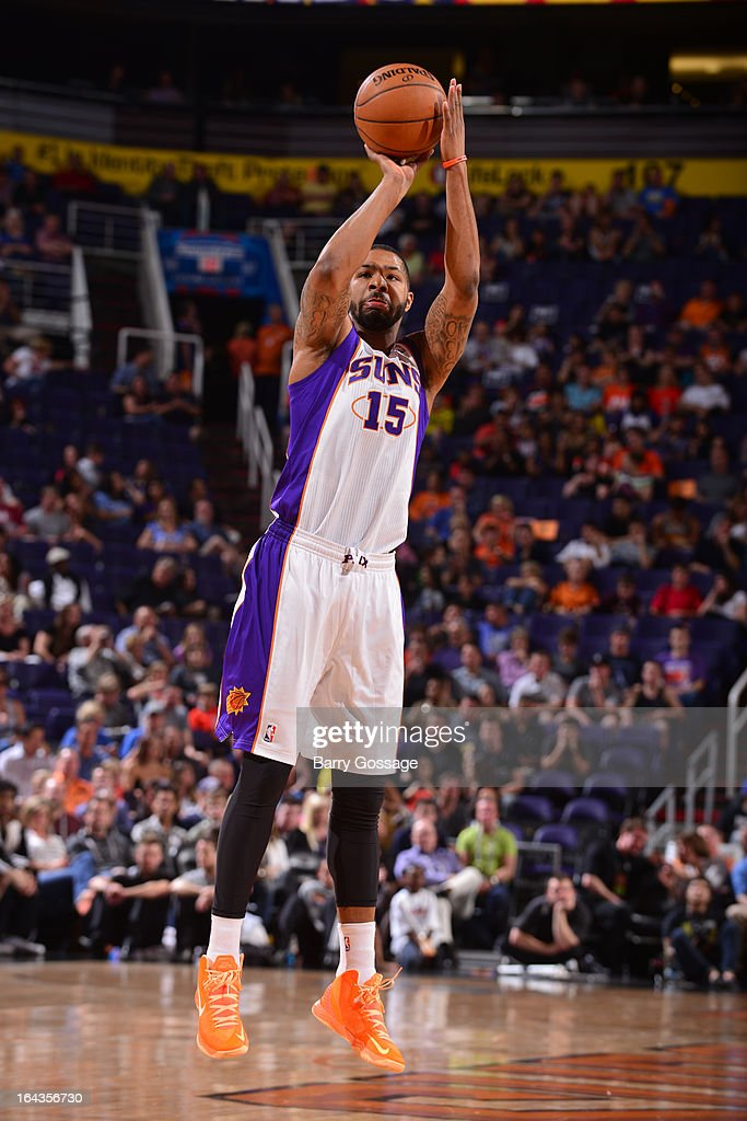 Marcus Morris #15 of the Phoenix Suns shoots against the Minnesota Timberwolves on March 22, 2013 at U.S. Airways Center in Phoenix, Arizona.