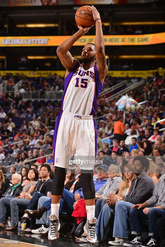 Marcus Morris #15 of the Phoenix Suns sinks a three pointer against the Atlanta Hawks on March 1, 2013 at U.S. Airways Center in Phoenix, Arizona.