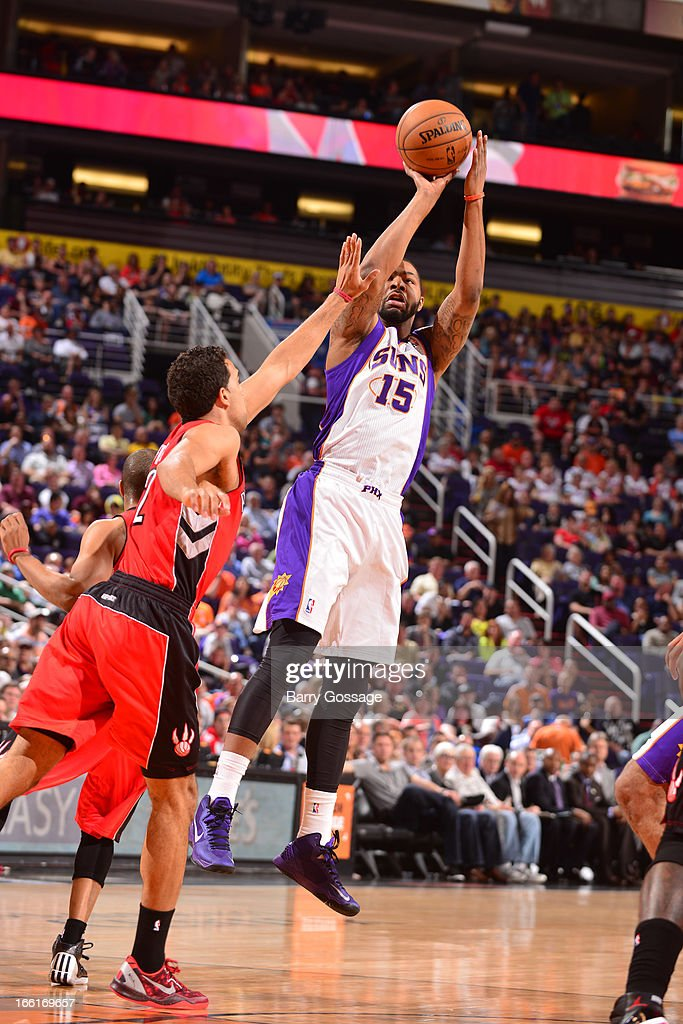 Marcus Morris #15 of the Phoenix Suns takes a shot against the Toronto Raptors on March 6, 2013 at U.S. Airways Center in Phoenix, Arizona.