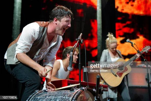 Marcus Mumford and Laura Marling perform on stage during the iTunes Festival at The Roundhouse on July 9 2010 in London England