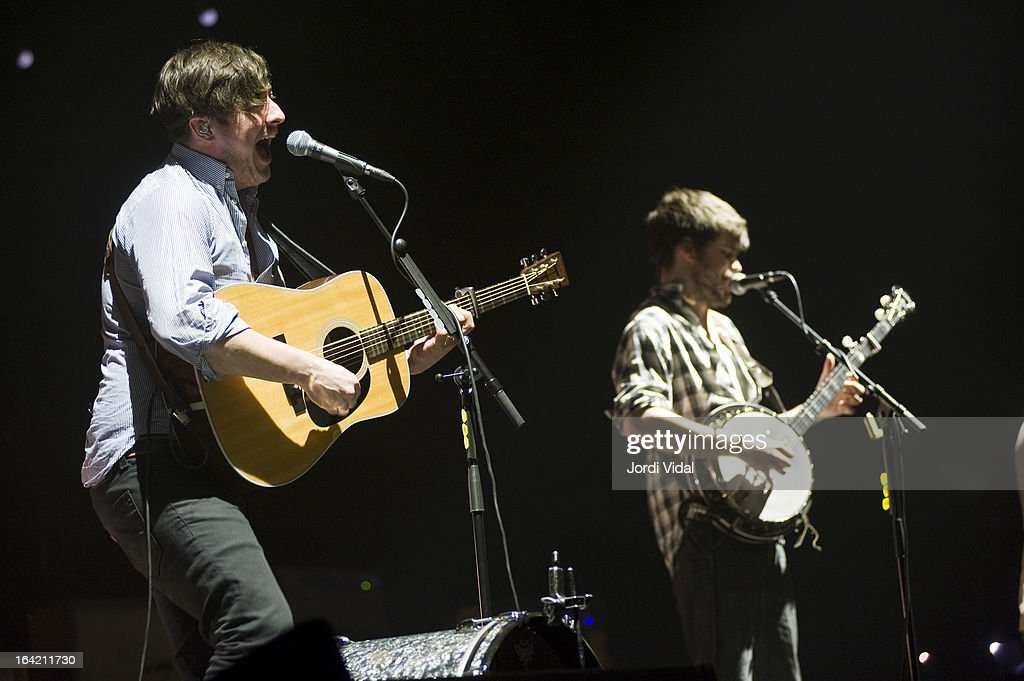 Marcus Mumford and Winston Marshall of Mumford and Sons perform on stage in concert at Razzmatazz on March 20, 2013 in Barcelona, Spain.