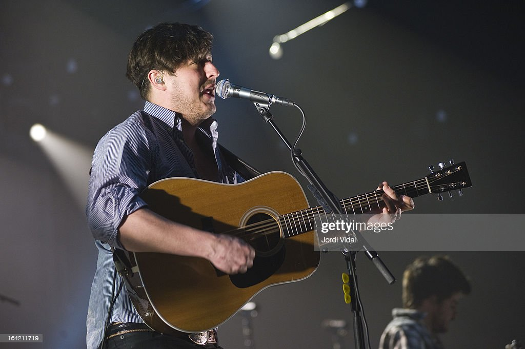Marcus Mumford of Mumford and Sons performs on stage in concert at Razzmatazz on March 20, 2013 in Barcelona, Spain.