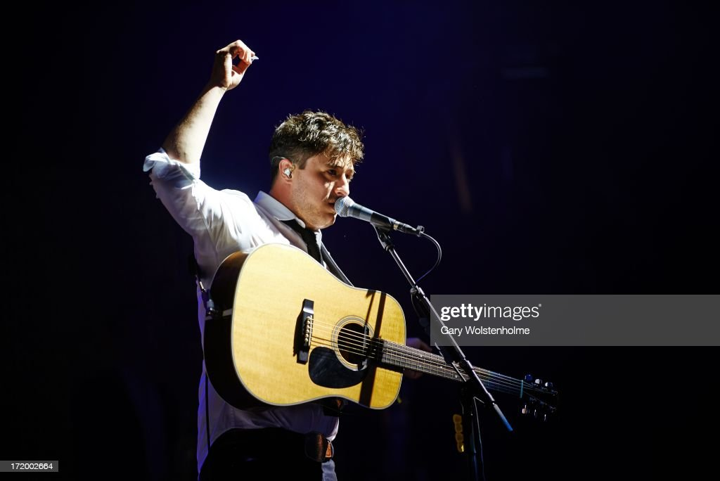Marcus Mumford of Mumford and Sons performs on stage on Day 4 of Glastonbury Festival at Worthy Farm on June 30, 2013 in Glastonbury, England.