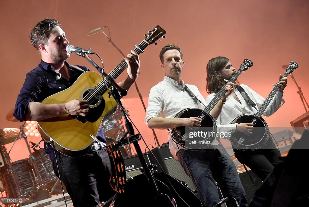 Marcus Mumford of Mumford Sons actor Ed Helms and Winston Marshall of Mumford Sons perform onstage at What Stage during Day 3 of the 2015 Bonnaroo...