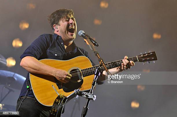 Marcus Mumford of Mumford Sons headlines on the Main Stage during the 1st Day of the Reading Festival Richfield Avenue on August 28 2015 in Reading...
