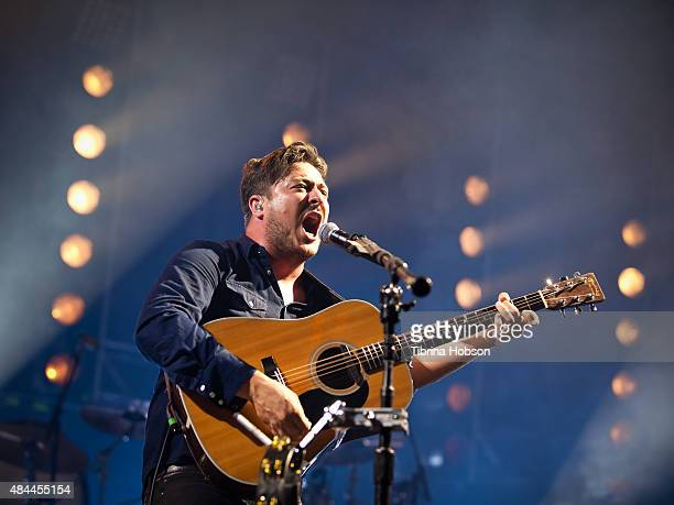 Marcus Mumford of Mumford Sons performs at The Forum on August 18 2015 in Inglewood California