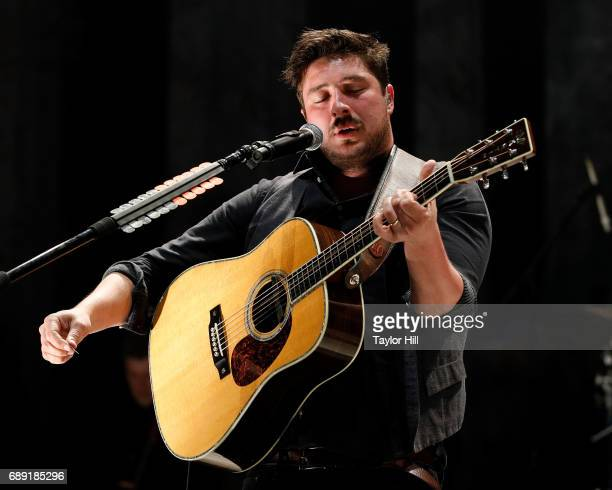 Marcus Mumford of Mumford Sons performs during the 2017 Boston Calling Music Festival at Harvard Athletic Complex on May 27 2017 in Boston...