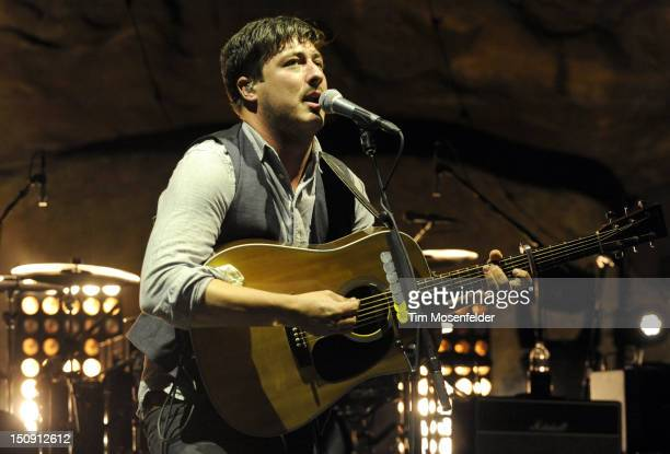 Marcus Mumford of Mumford Sons performs in advance of the bands' Babel release at Red Rocks Amphitheatre on August 28 2012 in Morrison Colorado