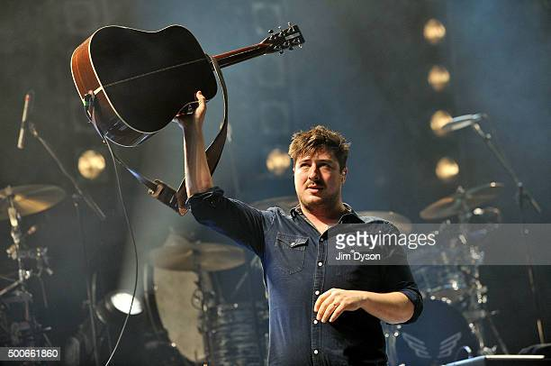 Marcus Mumford of Mumford Sons performs live on stage at The O2 Arena on December 9 2015 in London England