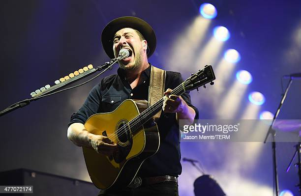 Marcus Mumford of Mumford Sons performs on the 'Which' stage during the 2015 Bonnaroo Music Arts Festival on June 13 2015 in Manchester Tennessee