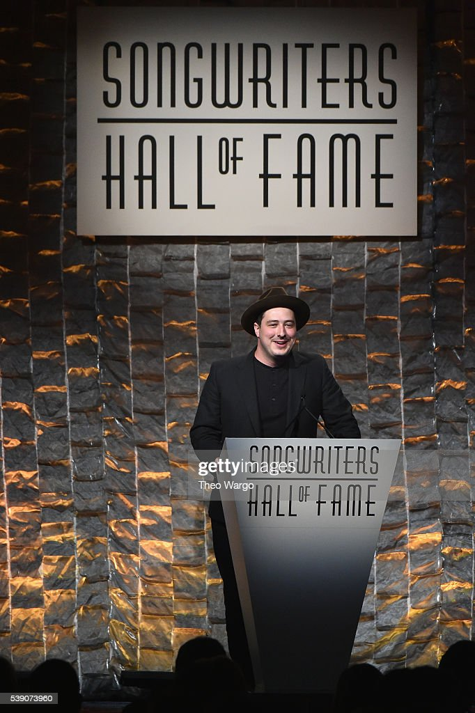 <a gi-track='captionPersonalityLinkClicked' href=/galleries/search?phrase=Marcus+Mumford&family=editorial&specificpeople=5385533 ng-click='$event.stopPropagation()'>Marcus Mumford</a> speaks onstage during the Songwriters Hall Of Fame 47th Annual Induction And Awards at Marriott Marquis Hotel on June 9, 2016 in New York City.