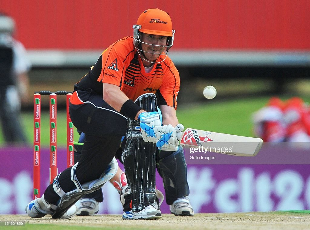 <a gi-track='captionPersonalityLinkClicked' href=/galleries/search?phrase=Marcus+North&family=editorial&specificpeople=167183 ng-click='$event.stopPropagation()'>Marcus North</a> of Perth sweeps a delivery during the Karbonn Smart CLT20 match between Auckland Aces and Perth Scorchers at SuperSport Park on October 23, 2012 in Pretoria, South Africa.