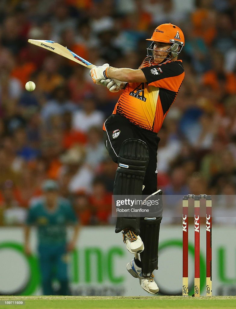 Marcus North of the Scorchers bats during the Big Bash League final match between the Perth Scorchers and the Brisbane Heat at the WACA on January 19, 2013 in Perth, Australia.