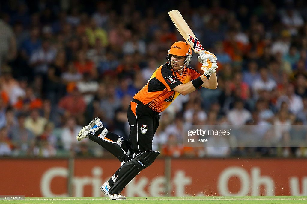 <a gi-track='captionPersonalityLinkClicked' href=/galleries/search?phrase=Marcus+North&family=editorial&specificpeople=167183 ng-click='$event.stopPropagation()'>Marcus North</a> of the Scorchers bats during the Big Bash League final match between the Perth Scorchers and the Brisbane Heat at the WACA on January 19, 2013 in Perth, Australia.