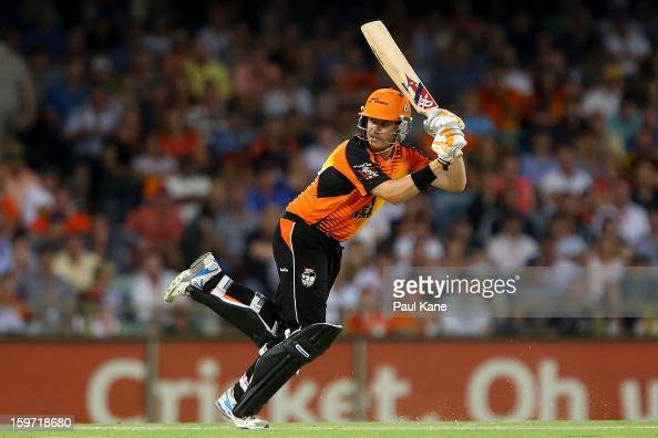 Marcus North of the Scorchers bats during the Big Bash League final match between the Perth Scorchers and the Brisbane Heat at the WACA on January 19...