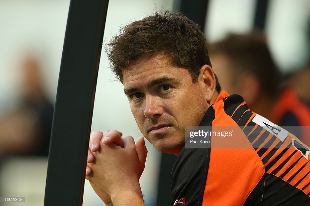Marcus North of the Scorchers looks on from the dug out during the Big Bash League match between the Perth Scorchers and the Melbourne Stars at WACA on December 12, 2012 in Perth, Australia.