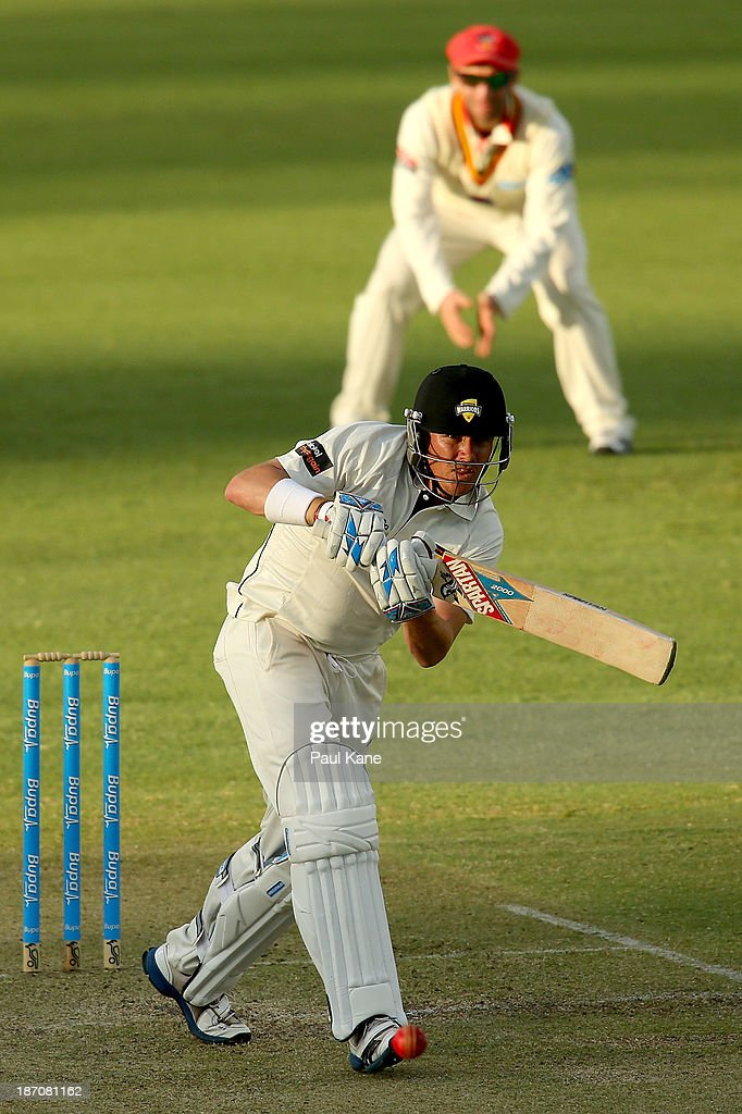 <a gi-track='captionPersonalityLinkClicked' href=/galleries/search?phrase=Marcus+North&family=editorial&specificpeople=167183 ng-click='$event.stopPropagation()'>Marcus North</a> of the Warriors bats during day one of the Sheffield Shield match between the Western Australia Warriors and the South Australia Redbacks at the WACA on November 6, 2013 in Perth, Australia.