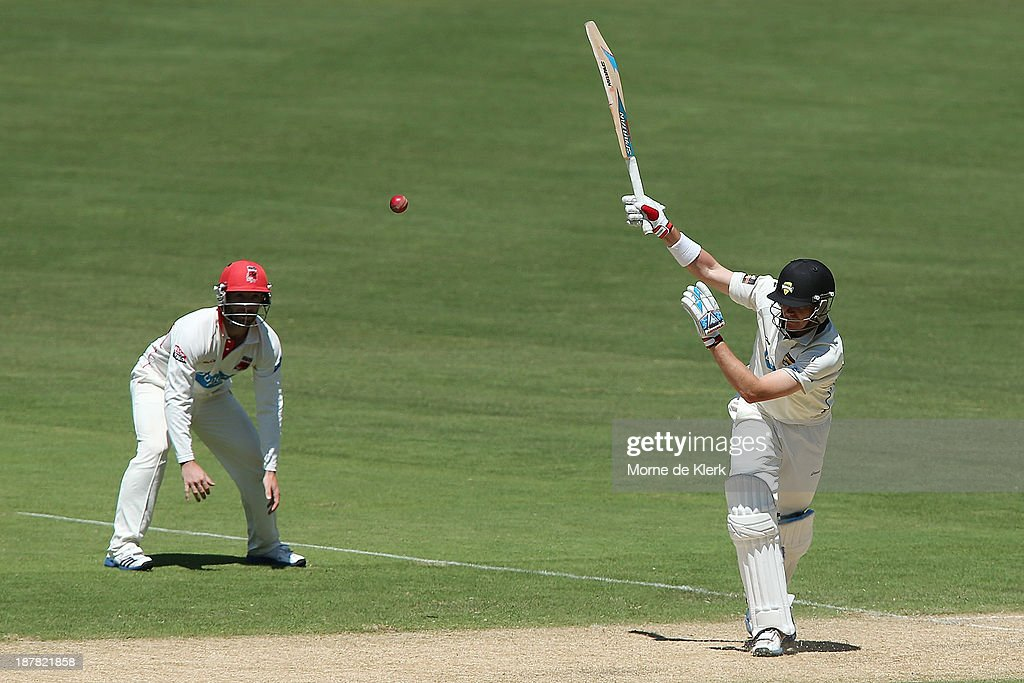 <a gi-track='captionPersonalityLinkClicked' href=/galleries/search?phrase=Marcus+North&family=editorial&specificpeople=167183 ng-click='$event.stopPropagation()'>Marcus North</a> of the Warriors bats during day one of the Sheffield Shield match between the Redbacks and the Warriors at Adelaide Oval on November 13, 2013 in Adelaide, Australia.
