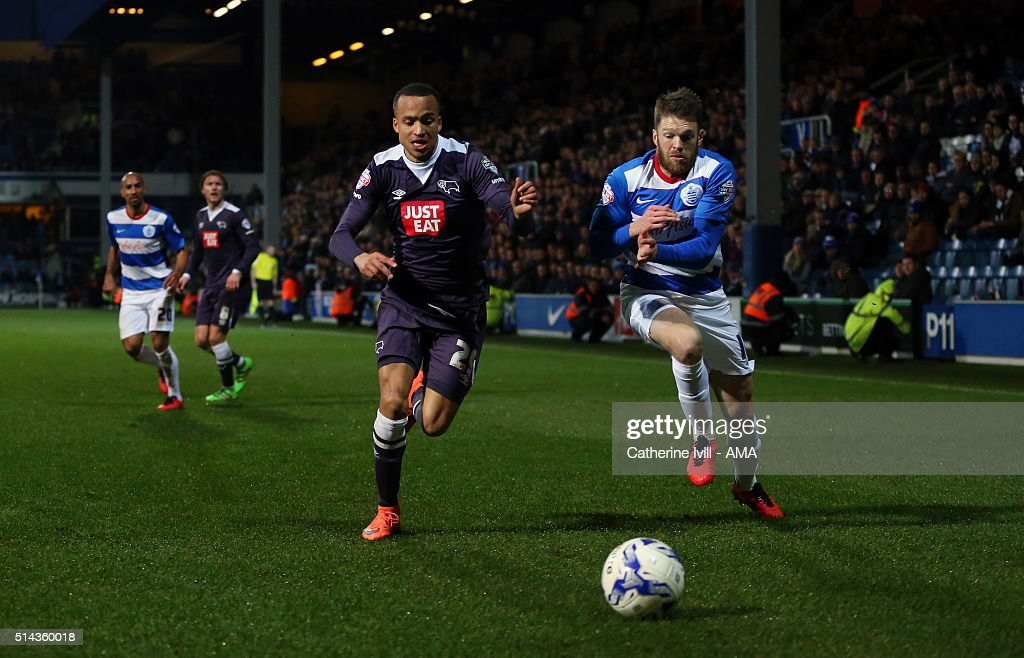 Marcus Olsson of Derby County and <a gi-track='captionPersonalityLinkClicked' href=/galleries/search?phrase=Jamie+Mackie&family=editorial&specificpeople=5545546 ng-click='$event.stopPropagation()'>Jamie Mackie</a> of Queens Park Rangers during the Sky Bet Championship match between Queens Park Rangers and Derby County at at Loftus Road on March 8, 2016 in London, England.