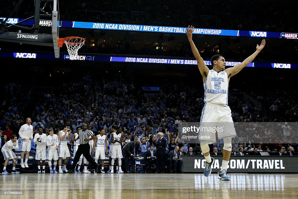 <a gi-track='captionPersonalityLinkClicked' href=/galleries/search?phrase=Marcus+Paige&family=editorial&specificpeople=7880805 ng-click='$event.stopPropagation()'>Marcus Paige</a> #5 of the North Carolina Tar Heels celebrates after a basket in the first half against the Indiana Hoosiers during the 2016 NCAA Men's Basketball Tournament East Regional at Wells Fargo Center on March 25, 2016 in Philadelphia, Pennsylvania.