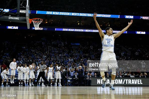 Marcus Paige of the North Carolina Tar Heels celebrates after a basket in the first half against the Indiana Hoosiers during the 2016 NCAA Men's...
