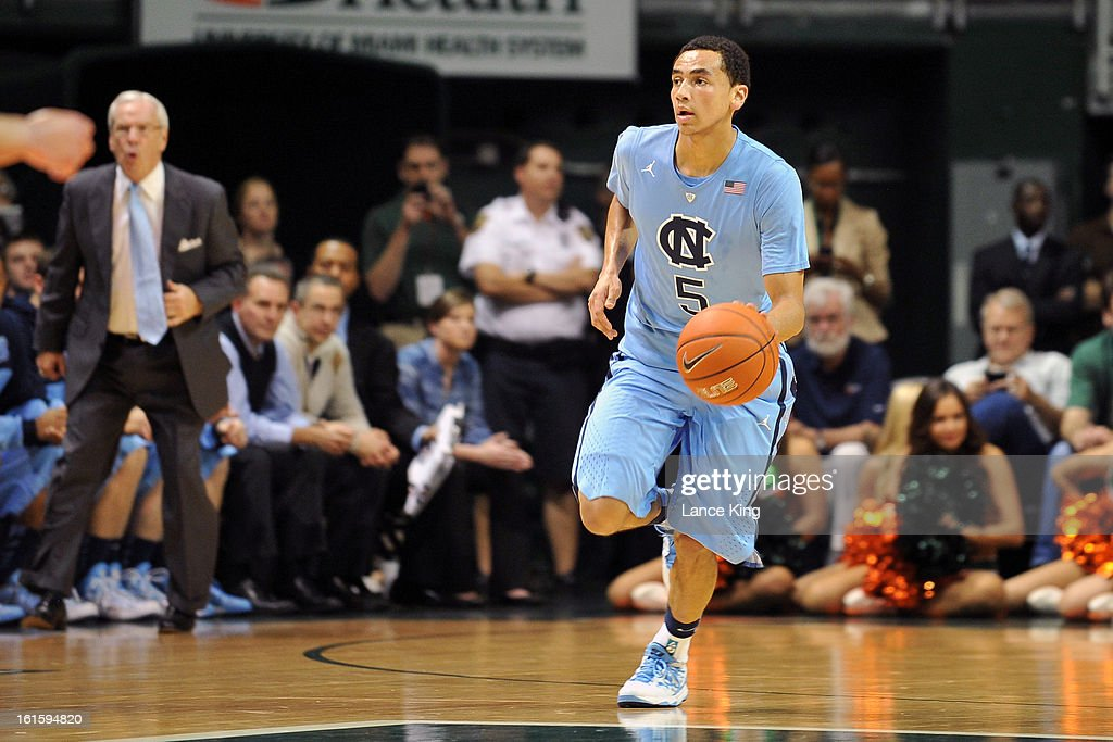 Marcus Paige #5 of the North Carolina Tar Heels dribbles up court against the Miami Hurricanes at the BankUnited Center on February 9, 2013 in Coral Gables, Florida. Miami defeated North Carolina 87-61.