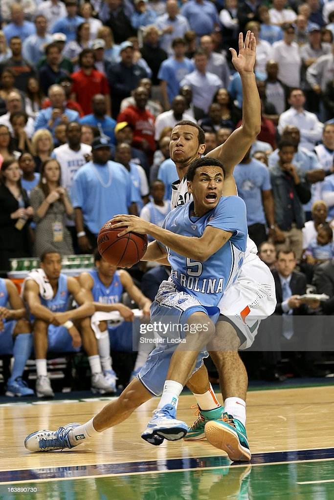 Marcus Paige #5 of the North Carolina Tar Heels drives against Trey McKinney Jones #4 of the Miami (Fl) Hurricanes during the final of the Men's ACC Basketball Tournament at Greensboro Coliseum on March 17, 2013 in Greensboro, North Carolina.