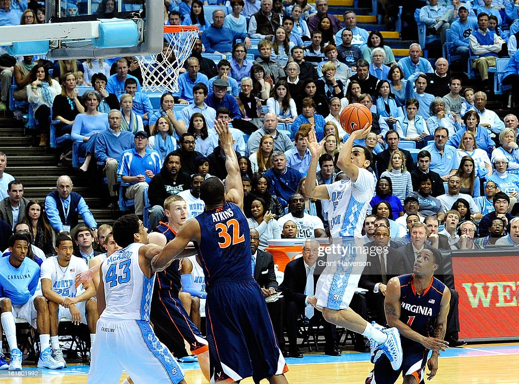 Marcus Paige #5 of the North Carolina Tar Heels drives to the basket against the Virginia Cavaliers during play at the Dean Smith Center on February 16, 2013 in Chapel Hill, North Carolina. North Carolina won 93-81.