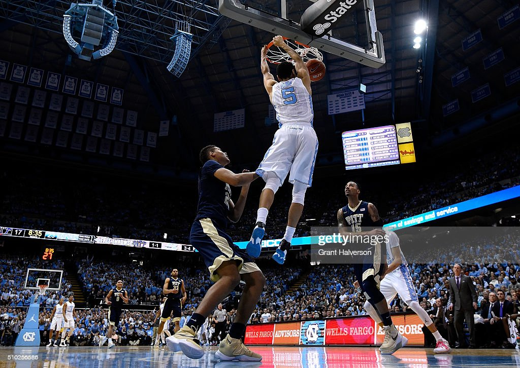 <a gi-track='captionPersonalityLinkClicked' href=/galleries/search?phrase=Marcus+Paige&family=editorial&specificpeople=7880805 ng-click='$event.stopPropagation()'>Marcus Paige</a> #5 of the North Carolina Tar Heels dunks against the Pittsburgh Panthers during their game at the Dean Smith Center on February 14, 2016 in Chapel Hill, North Carolina. North Carolina won 85-64.