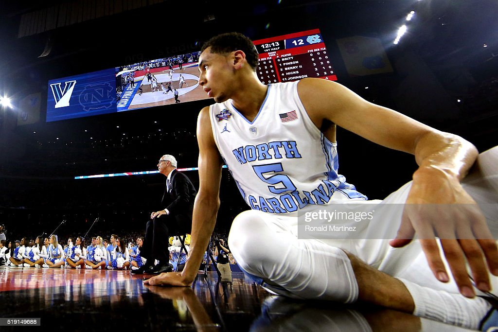 Marcus Paige of the North Carolina Tar Heels looks on from the bench in the first half against the Villanova Wildcats during the 2016 NCAA Men's...