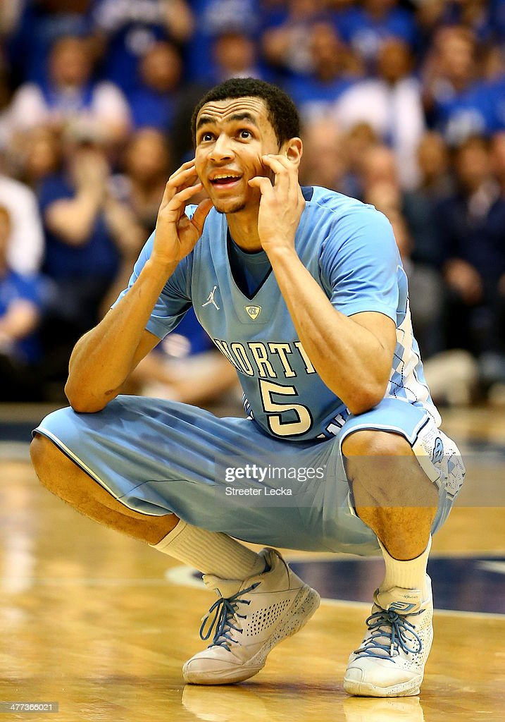 <a gi-track='captionPersonalityLinkClicked' href=/galleries/search?phrase=Marcus+Paige&family=editorial&specificpeople=7880805 ng-click='$event.stopPropagation()'>Marcus Paige</a> #5 of the North Carolina Tar Heels reacts after a call during their game against the Duke Blue Devils at Cameron Indoor Stadium on March 8, 2014 in Durham, North Carolina.