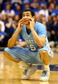 Marcus Paige of the North Carolina Tar Heels reacts after a call during their game against the Duke Blue Devils at Cameron Indoor Stadium on March 8...
