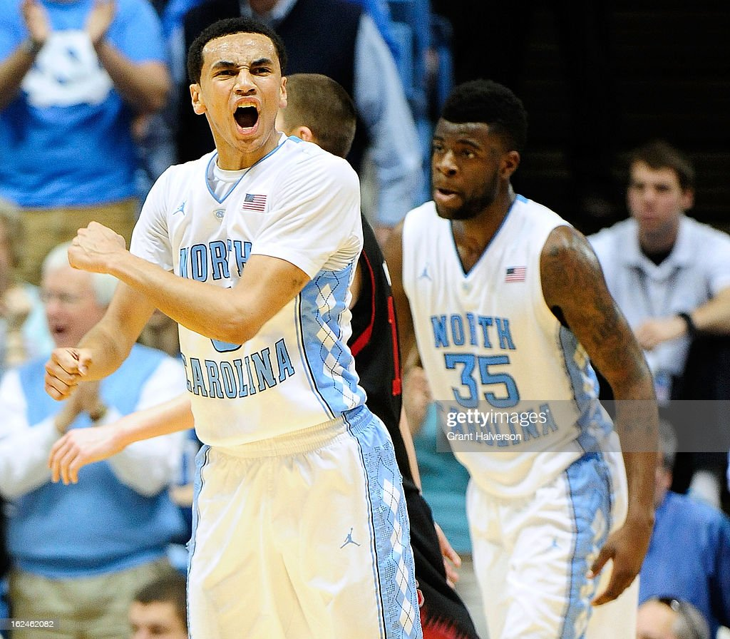 Marcus Paige #5 of the North Carolina Tar Heels reacts during a win over the North Carolina State Wolfpack during play at the Dean Smith Center on February 23, 2013 in Chapel Hill, North Carolina. North Carolina won 76-65.