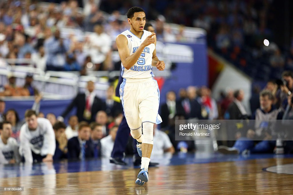 Marcus Paige of the North Carolina Tar Heels reacts in the first half against the Villanova Wildcats during the 2016 NCAA Men's Final Four National...