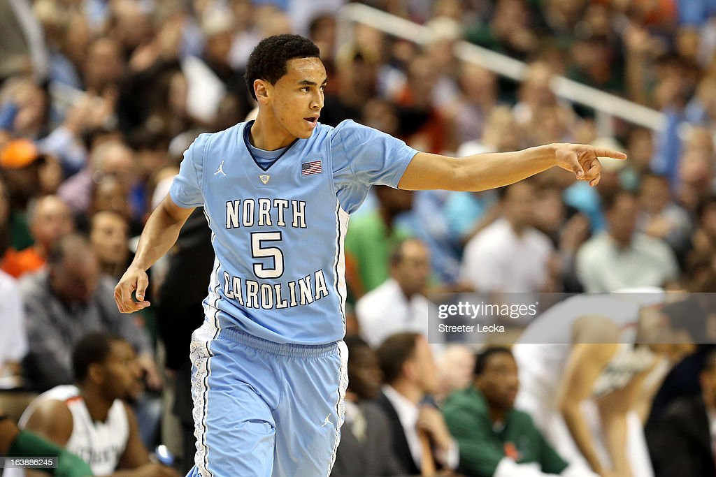 Marcus Paige #5 of the North Carolina Tar Heels reacts to a play in the first half against the Miami (Fl) Hurricanes during the final of the Men's ACC Basketball Tournament at Greensboro Coliseum on March 17, 2013 in Greensboro, North Carolina.