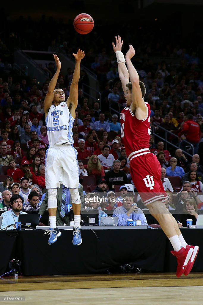 Marcus Paige of the North Carolina Tar Heels shoots the ball in the first half against Collin Hartman of the Indiana Hoosiers during the 2016 NCAA...