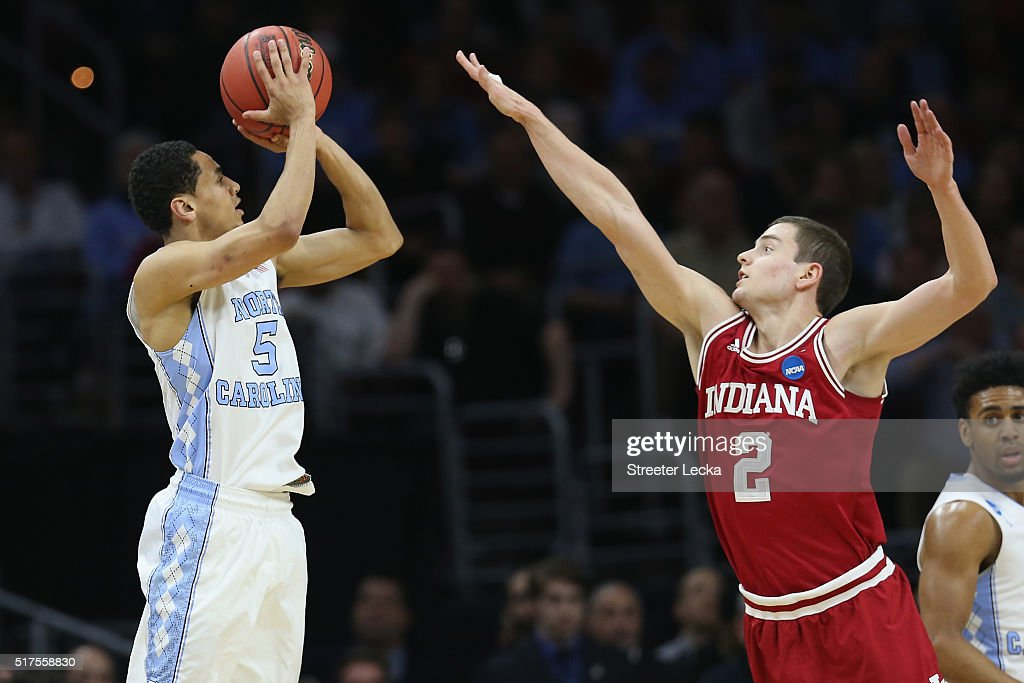 Marcus Paige of the North Carolina Tar Heels shoots the ball in the first half against Nick Zeisloft of the Indiana Hoosiers during the 2016 NCAA...